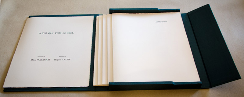 This portfolio of five original mezzotints by Mikio Watanabe is presented in a linen covered box. Poetry by Hughes Andre, letterpress text is in French. Edition of 90 plus 15 artist proofs and 3 h.c.1998