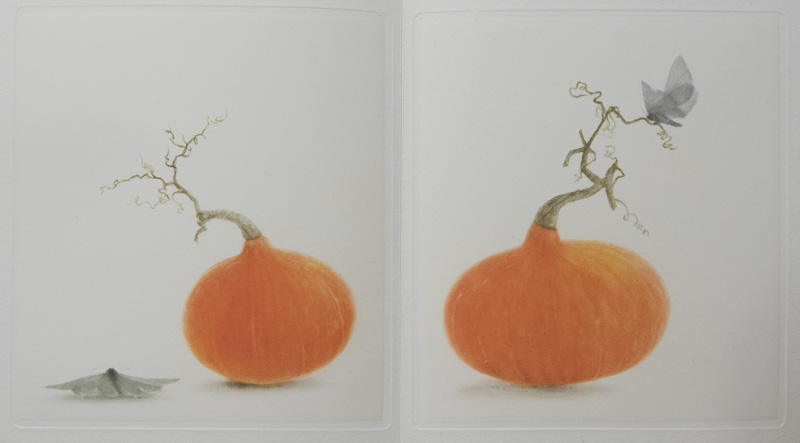 ​a collection of five mezzotints by Mikio Watanabe with free-verse haiku poetry by Santoka​