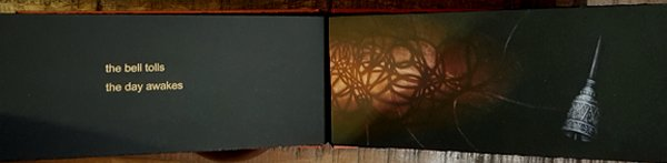"""hand-made book with text and original mezzotints by Nan Mulder 2016 varied edition of 6 - text in English size 15"""" x 6 1/4"""" $400"""