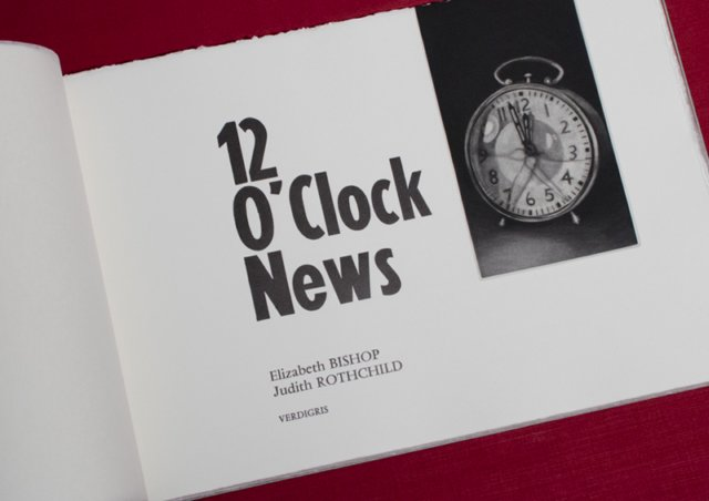 The poem 12 O' Clock News by Elizabeth Bishop was first published in 1976 in the collection Geography III. This edition is presented with two mezzotints by Judith Rothchild. Eight fragments of the second plate have also been printed following the indications given by the author in the text.  The edition of fifty copies has been printed on Hahnemülhe paper and bound in the Japanese style. The mezzotints as well as the screen prints on the covers, slipcases and boxes have been printed by the artist. The handset letterpress in Vendôme romain has been composed and printed by Mark Lintott on an Albion press. The bindings, slipcases and clamshell boxes are also the work of Mark Lintott. The two mezzotints have also been printed in a loose edition of twenty