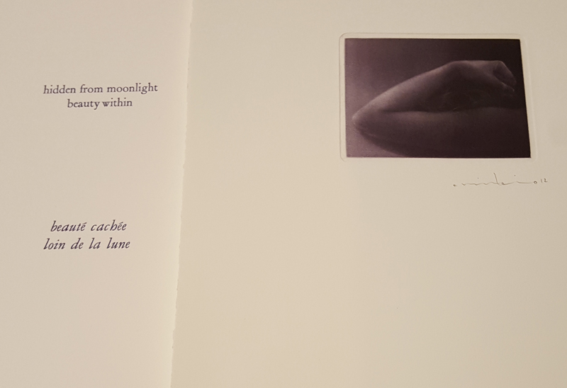 "This is a collection of five mezzotint engravings by Mikio Watanabe. Original haiku poetry by Victor Ortiz (USA) and translated into French haiku by Jackie Martine (USA) Letterpress text in deep blue echos the blue- black ""moonlit"" inking of the mezzotints - printed in Nantes, France December 2012"