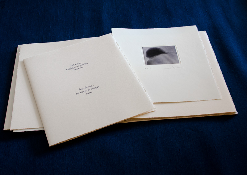 """This is a collection of five mezzotint engravings by Mikio Watanabe. Original haiku poetry by Victor Ortiz (USA) and translated into French haiku by Jackie Martine (USA) Letterpress text in deep blue echos the blue- black """"moonlit"""" inking of the mezzotints - printed in Nantes, France December 2012"""