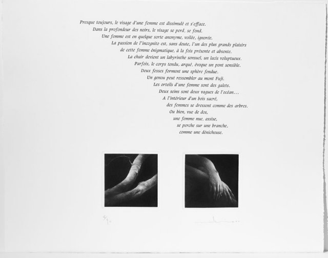 """Radieuse"" - portfolio with nine mezzotints by Mikio Watanabe, text by Gilbert Lascault This portfolio of nine original mezzotints is presented in a linen covered box. The mezzotints and French text are printed on the page, includes English translation. Lovely composition and letterpress printing by Michael Caine in Paris Limited to 90 + 10ap and 3 hc"