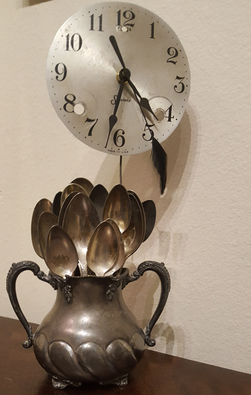 Pewter Creamer with Spoons Clock #6191