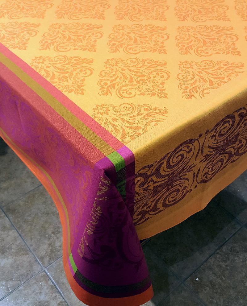 "Prodige Orange 63"" sq Tablecloth - FRANCE"