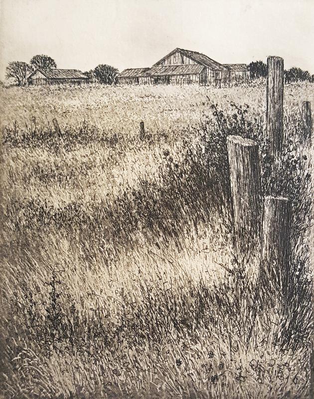 Southarm Farm, etching by Joseph Wong