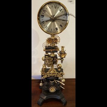 ​#6087 Black Bejeweled Clock