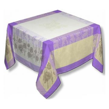 "Coquelicot Purple 63"" sq Tablecloth - FRANCE"