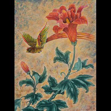 Trumpet Flower and Chestnut Mannekin