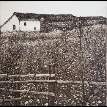 First of Spring, etching by Joseph Wong