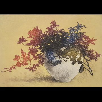 Flower Vase VI, hand colored etching by Joseph Wong