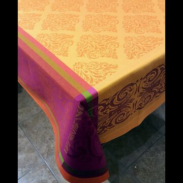 "Prodige Orange 63"" sq Tablecloth - FRANCE"