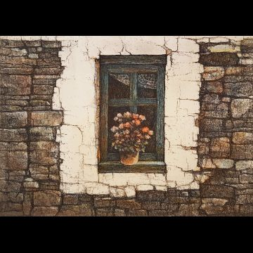 Potted Window, hand colored etching by Joseph Wong