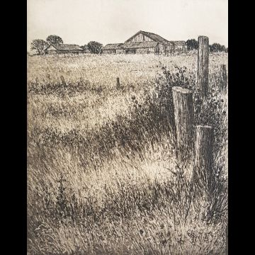 Southarm Farm, etching by Joseph Wong