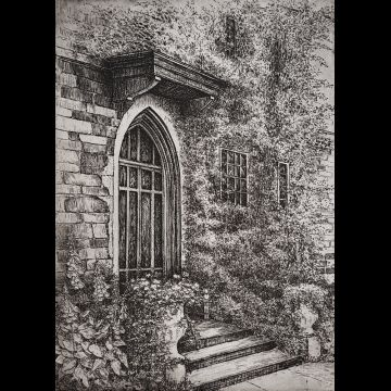 The Porch II, etching by Joseph Wong