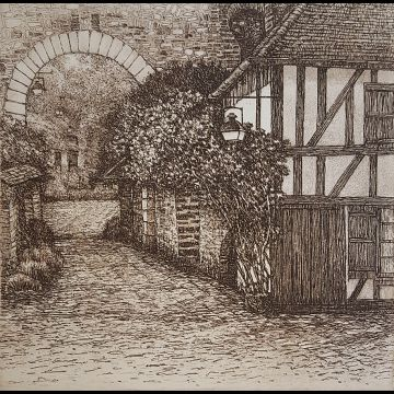Village Lane - sepia, etching by Joseph Wong