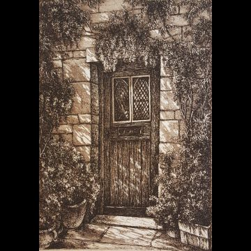 Wisteria Door, etching by Joseph Wong
