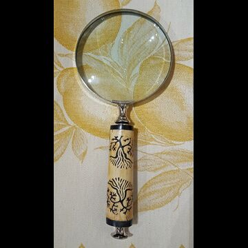 SL110 Trees Carved Bone Magnifying Glass