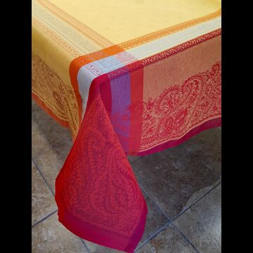 "Vania Yellow/Red 63"" sq Tablecloth - FRANCE"